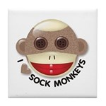 I Heart Love Sock Monkey Monkeys Tile Coaster
