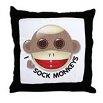 I Heart Love Sock Monkey Monkeys Throw Pillow