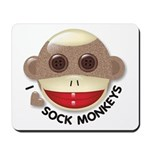 I Heart Love Sock Monkey Monkeys Mousepad