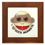 I Heart Love Sock Monkey Monkeys Framed Tile