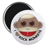 "I Heart Love Sock Monkey Monkeys 2.25"" Magnet (100"