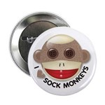 "I Heart Love Sock Monkey Monkeys 2.25"" Button (100"