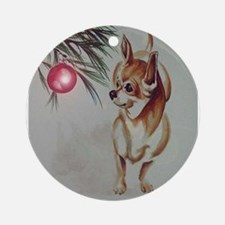 Christmas Chihuahua Ornament (Round)