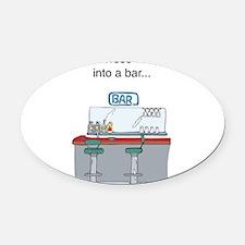 2 horses bar Oval Car Magnet