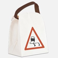 roadsignslippery.png Canvas Lunch Bag