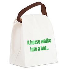 A horse walks into a bar... Canvas Lunch Bag