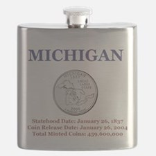 Michigan State Quarter with facts Flask