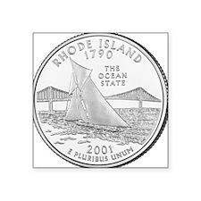 "Rhode Island State Quarter Square Sticker 3"" x 3"""