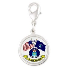 USAF-USA Flags Silver Round Charm