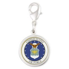USAF Coat of Arms Silver Round Charm