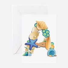 BEACH THEME INITIAL A Greeting Cards (Pk of 10)