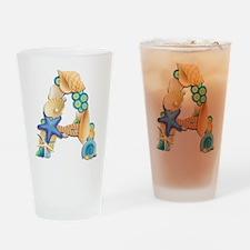 BEACH THEME INITIAL A Drinking Glass