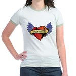 Mother Heart Tattoo Jr. Ringer T-Shirt