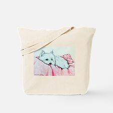 Sleepy Westie Tote Bag