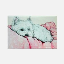 Napping Westie Rectangle Magnet