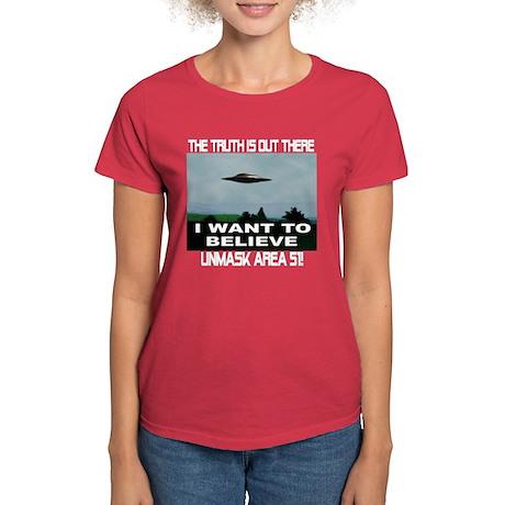 """UFO/Area 51"" Women's Dark T-Shirt"