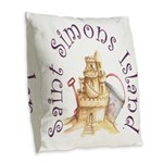 Saint Simons Island Burlap Throw Pillow