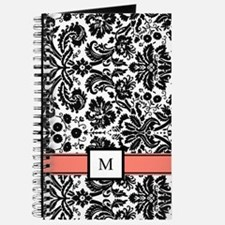 Coral Black White Damask Monogram Journal