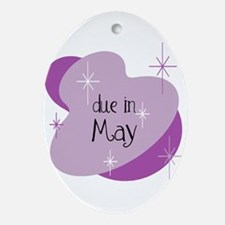 Due In May Retro Oval Ornament