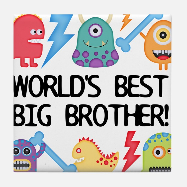 Monsters World's Best Big Brother Tile Coaster