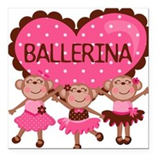 "Ballerina Monkeys Square Car Magnet 3"" x 3"""