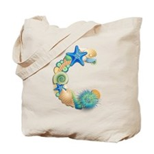 BEACH THEME INITIAL C Tote Bag