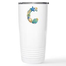 BEACH THEME INITIAL C Travel Mug
