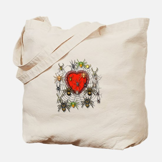 Spider Heart Caught In Web Tote Bag