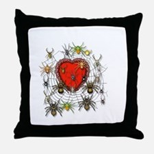 Spider Heart Caught In Web Throw Pillow