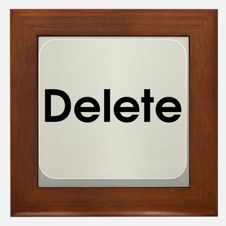 Delete Button Computer Key Framed Tile