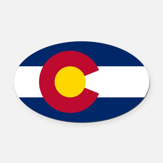 Colorado Flag Oval Car Magnet