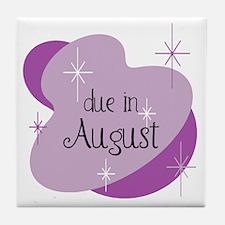Due In August Retro Tile Coaster