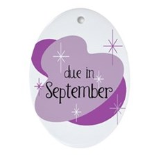 Due In September Retro Oval Ornament