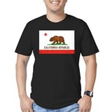 California republic flag distressed Fitted T-shirts (Dark)