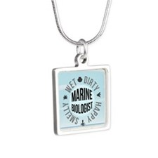 Marine Biologist Silver Square Necklace
