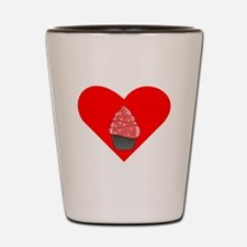 Red Cupcake With Sprinkles Heart Shot Glass