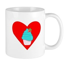 Blue Cupcake With Strawberry Heart Small Mug