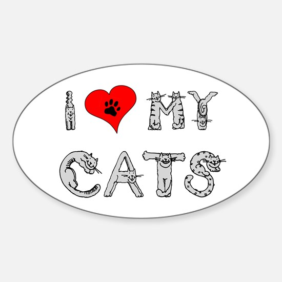 I love my cats / heart Oval Decal
