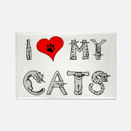 I love my cats / heart Rectangle Magnet