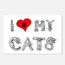 I love my cats / heart Postcards (Package of 8)
