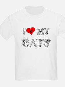 I love my cats / heart Kids T-Shirt