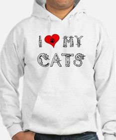 I love my cats / heart Hoodie