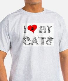 I love my cats / heart Ash Grey T-Shirt