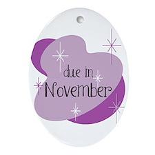 Due In November Retro Oval Ornament