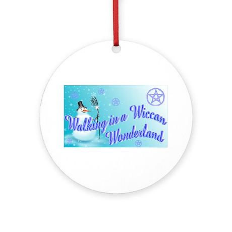 Wiccan Snowman wonderland Ornament (Round)