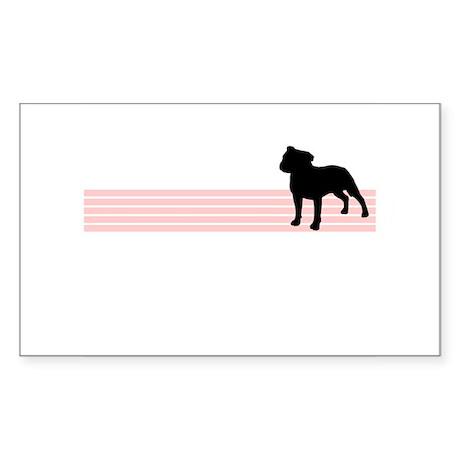 Retro Staffordshire Bull Terrier Sticker (Rectangu