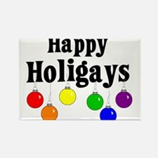 Happy Holigays Rectangle Magnet (10 pack)