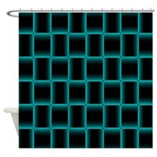 Glowing Neon Blue Light Weave Shower Curtain