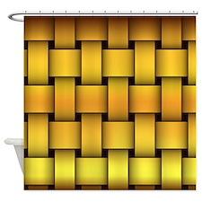 Gold Basketweave Shower Curtain