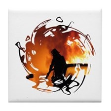 Firefighter Circle of Flames Tile Coaster